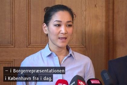 안나 미 알레르슬레우(Anna Mee Allerslev) 코펜하겐시 통합∙고용 부문 시장이 10월25일 기자회견을 열고 정계 은퇴를 선언했다 (DR 방송 갈무리)