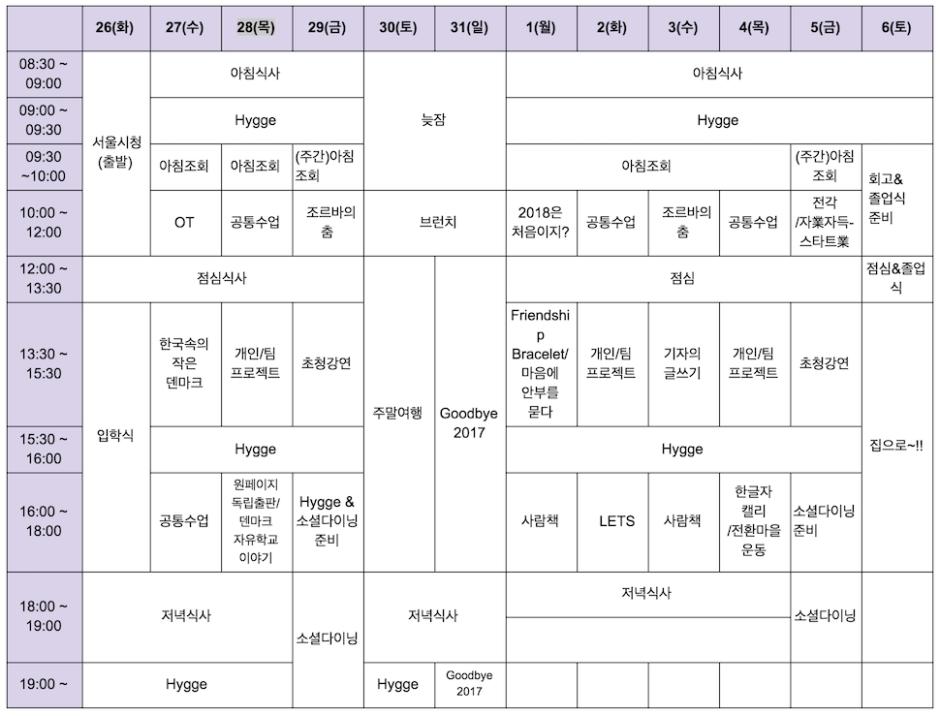 한국형 폴케호이스콜레 '자유학교' 시간표 (자유학교 제공)