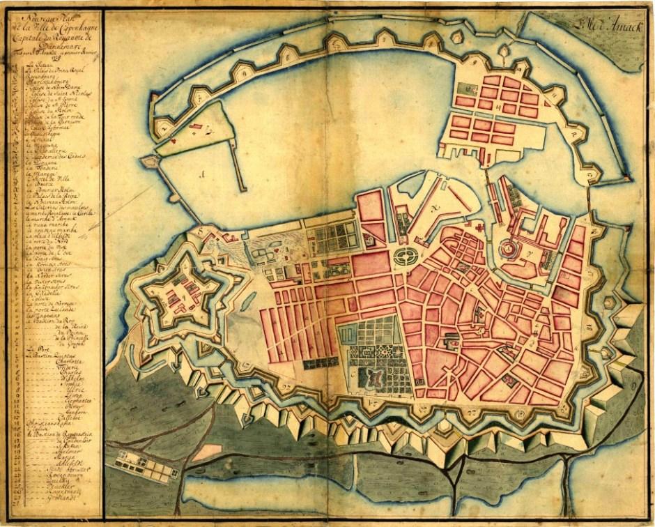 1728년 완전히 요새화된 코펜하겐 지도. 아래가 북쪽이다(출처: 위키미디어커먼즈 CC PD J.F. Arnoldt)