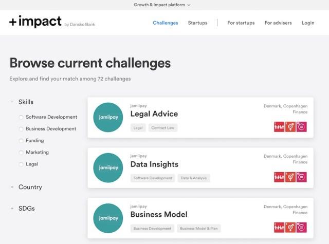북유럽 임팩트 스타트업 플랫폼 플러스임팩트(+impact) 웹사이트 갈무리