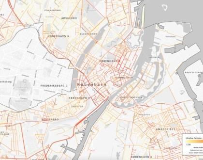 코펜하겐시 초미세먼지 지도 (구글 제공)