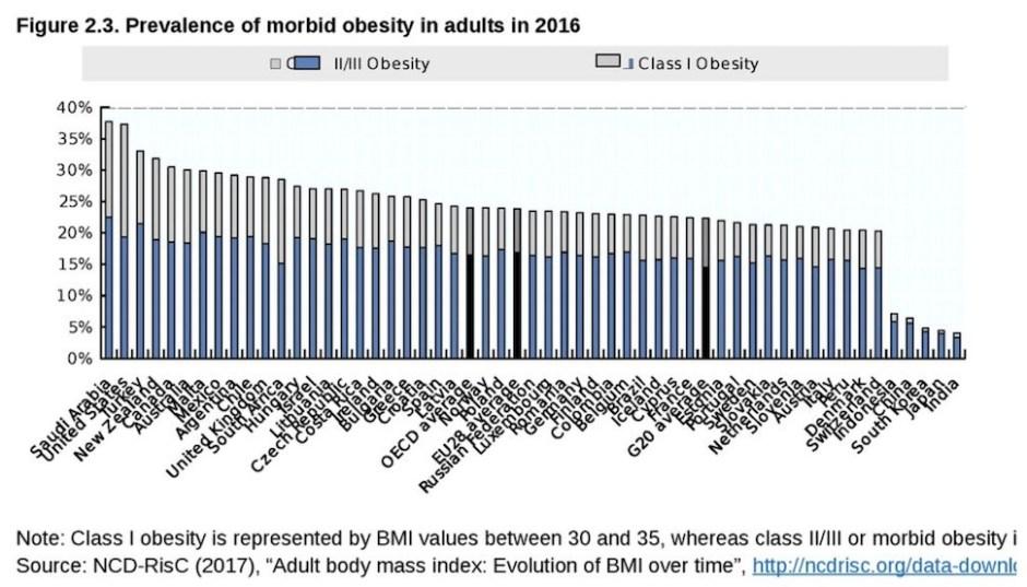 2016년 성인 비만 인구 비율(OECD 제공)