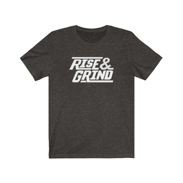 Flat lay of Rise & Grind T-Shirt in Black Heather