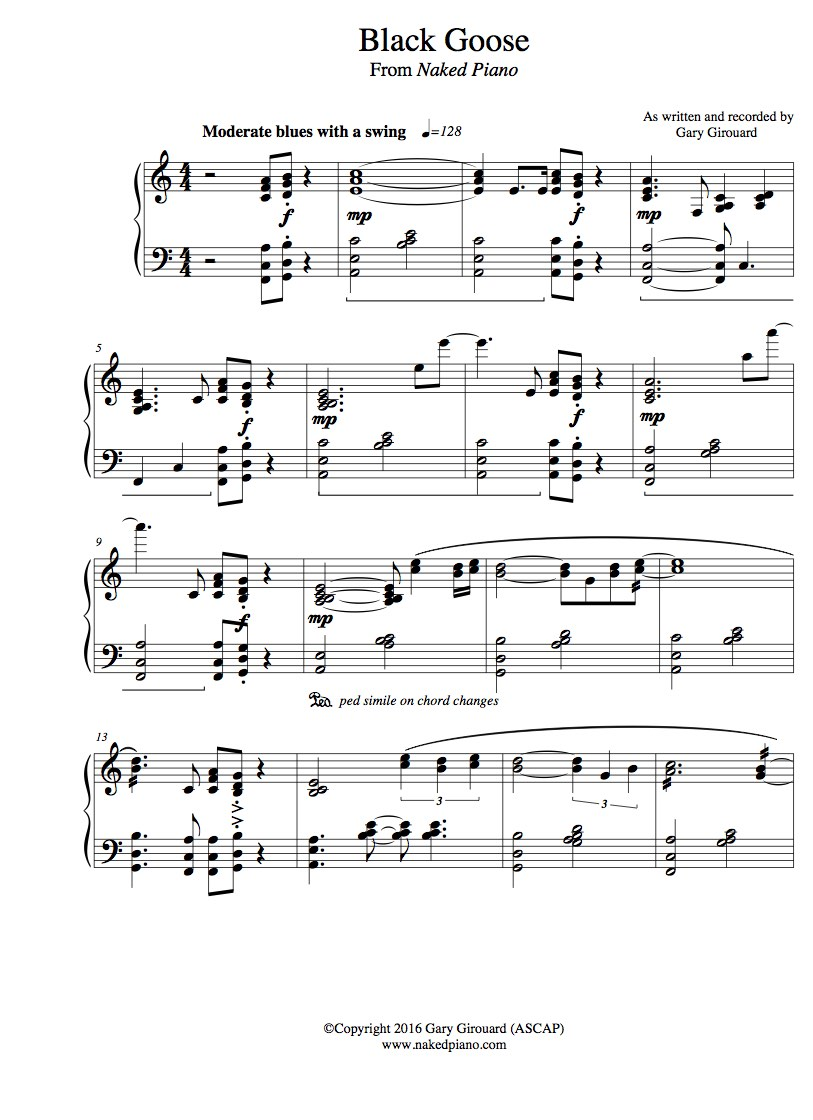 """Black Goose Solo Piano Sheet Music (from """"The Naked Piano"""")"""