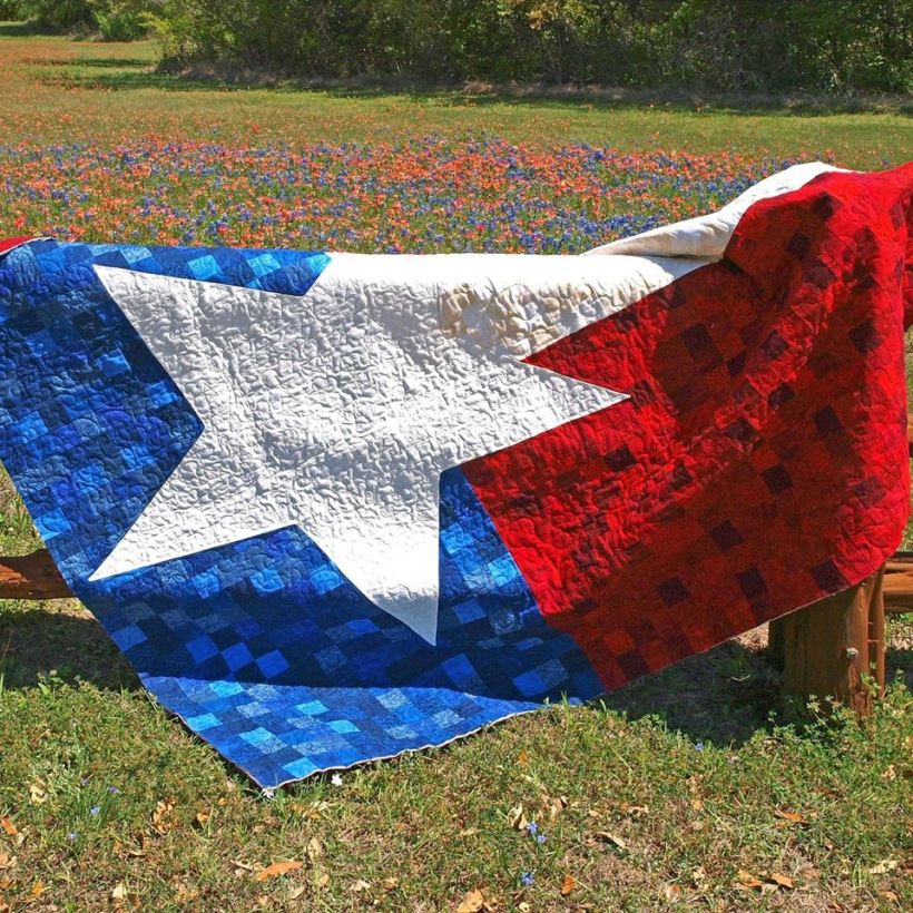 Completed Texas 9 Patch flag quilt at Lockhart State Park
