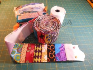 Strip quilting using adding machine tape from Nakeytoes Quilting