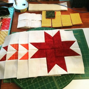 Unfinished Autumn Stars Quilt blocks