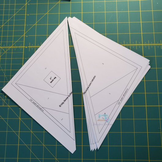 Preparing the paper pieces for sewing