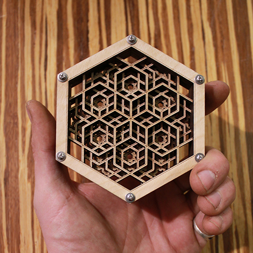 Hex Thing - A 4-layer Mandala of Lasered Wood - Naked Geometry