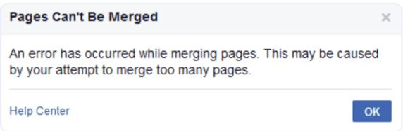 خطأ دمج الصفحات في فيسبوك