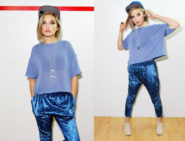 blue crop top and harem pants