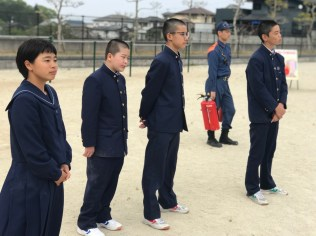 那珂川北中学校 避難訓練・消火訓練