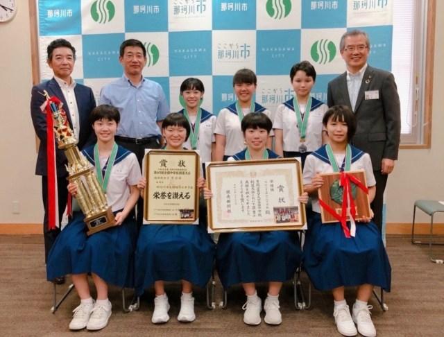 那珂川北中学校 剣道部女子、市長を表敬訪問