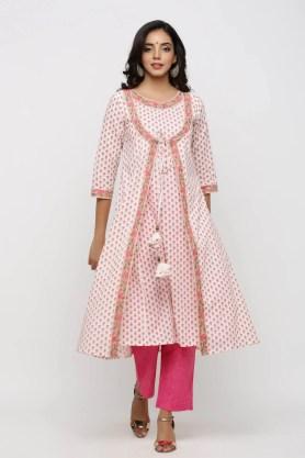 Pink block printed  jacket style kurta with tassels