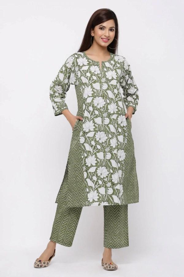 Fern green and white printed straight kurta and pant set.
