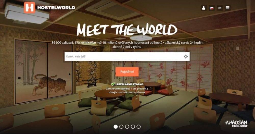 Vyhledávání na hostelworld.com