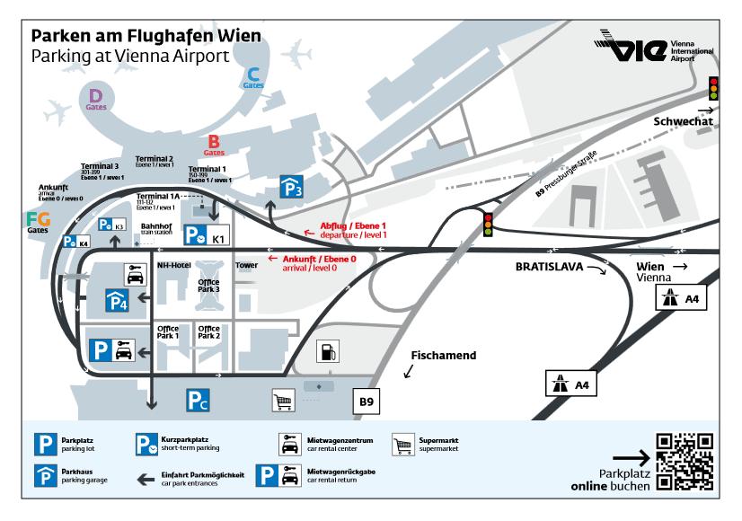 parkování na letišti Vídeň