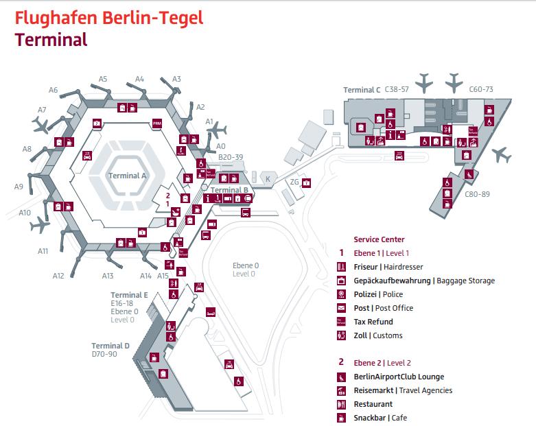 Plánek letiště Berlín Tegel (www.berlin-airport.de)