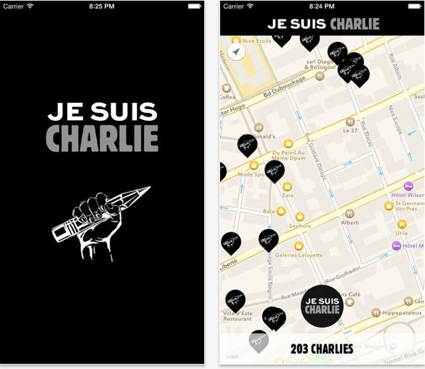 application iphone jesuischarlie