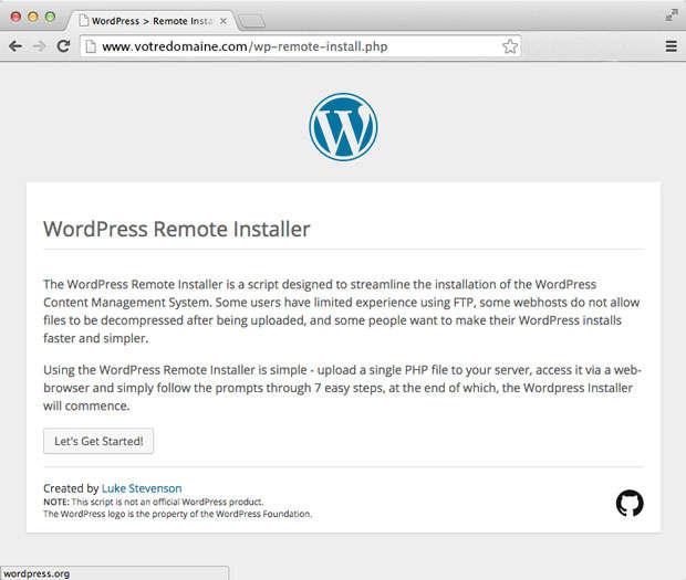 wordpress remote installer
