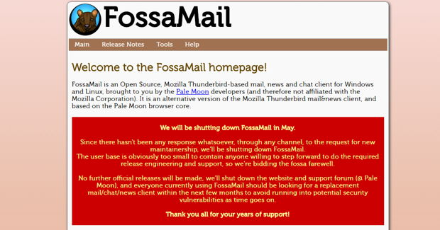 fossamail is dead