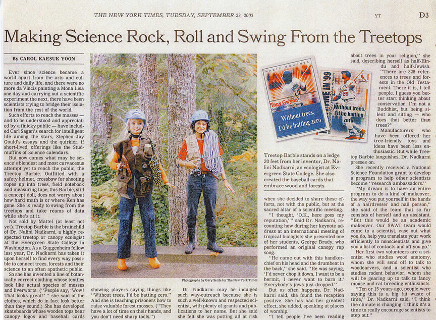 Times article tree top barbie