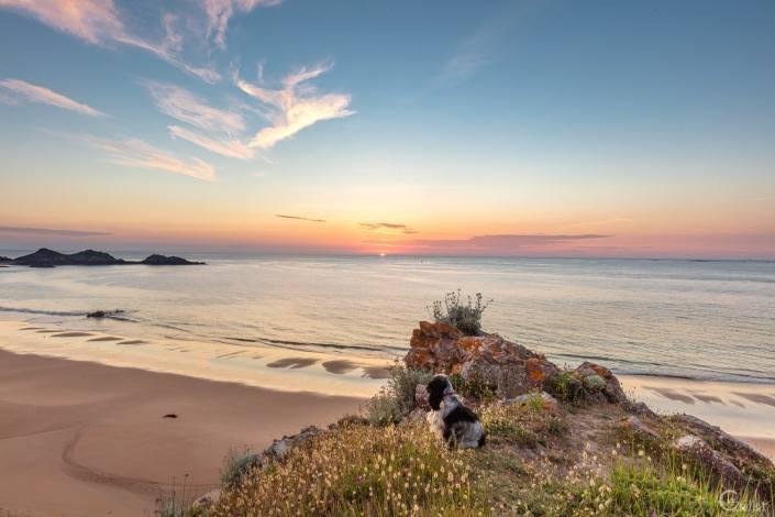 Coucher de soleil plage de Lourtuais