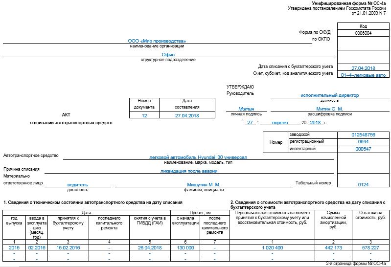 Акт ликвидации основных средств образец заполнения - Примеры заполнения - Каталог шаблонов бланков