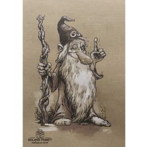 Magicien Zaubi -personnage de la Nalsace - dessin original sur papier kraft par Roland Perret -