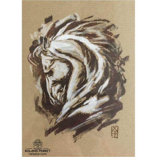 Tête de cheval baroque - dessin original sur papier kraft par Roland Perret - série des chevaux