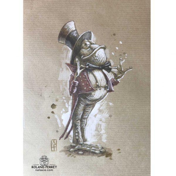Crapaud au noeud papillon - dessin original sur papier kraft par Roland Perret - série des crapauds et grenouilles