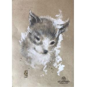 Renardeau - dessin original sur papier kraft par Roland Perret - série des renards