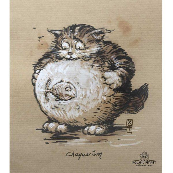 Chaquarium - aquarium - chat- poisson - dessin original sur papier kraft-Roland Perret - jeu du chat-llenge