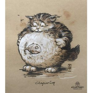 Chaquarium - aquarium - chat- poisson - dessin original sur papier kraft-Roland Perret - jeu du chat-llenge