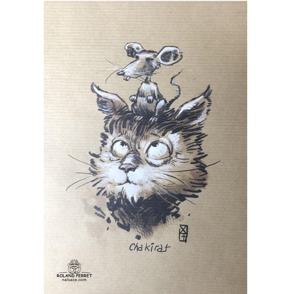 Chakirat - Shakira - chat rat- dessin original sur papier kraft par Roland Perret - jeu du chat-llenge