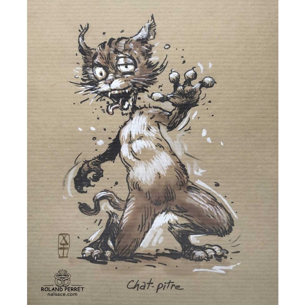 Chat pitre - chapitre - dessin original sur papier kraft par Roland Perret - jeu du chat-llenge