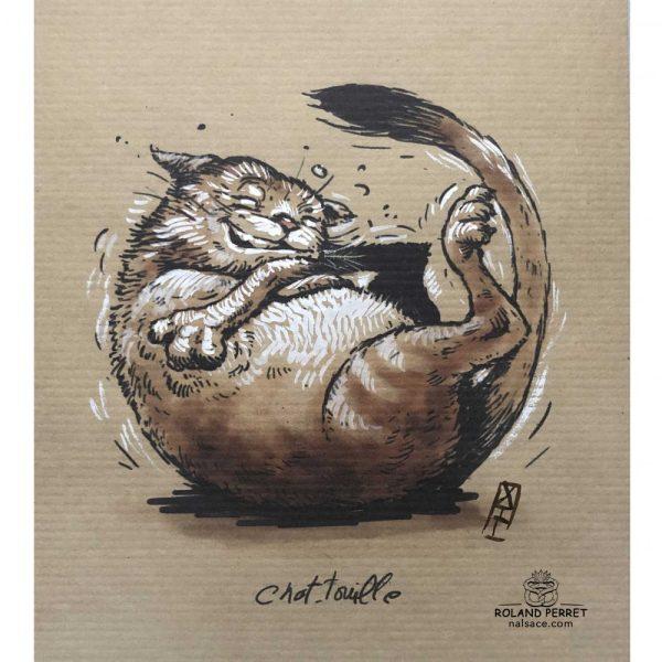 Chat touille - chatouille - dessin original sur papier kraft par Roland Perret - jeu du chat-llenge