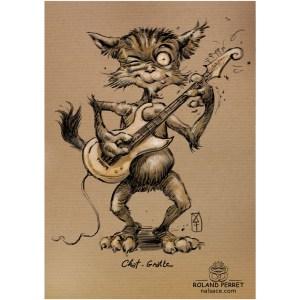 Chat - Gratte - guitare - dessin original sur papier kraft par Roland Perret - jeu du chat-llenge