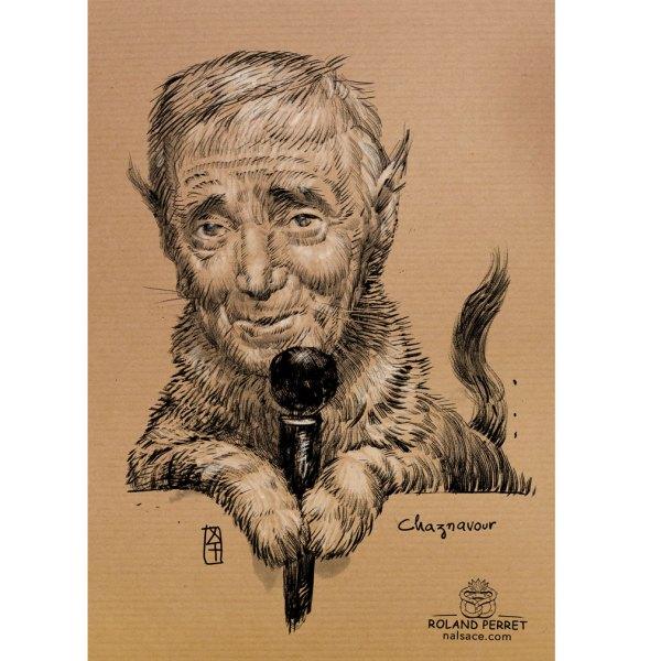 Chaznavour - Charles Aznavour chat caricature - dessin original sur papier kraft par Roland Perret - jeu du chat-llenge