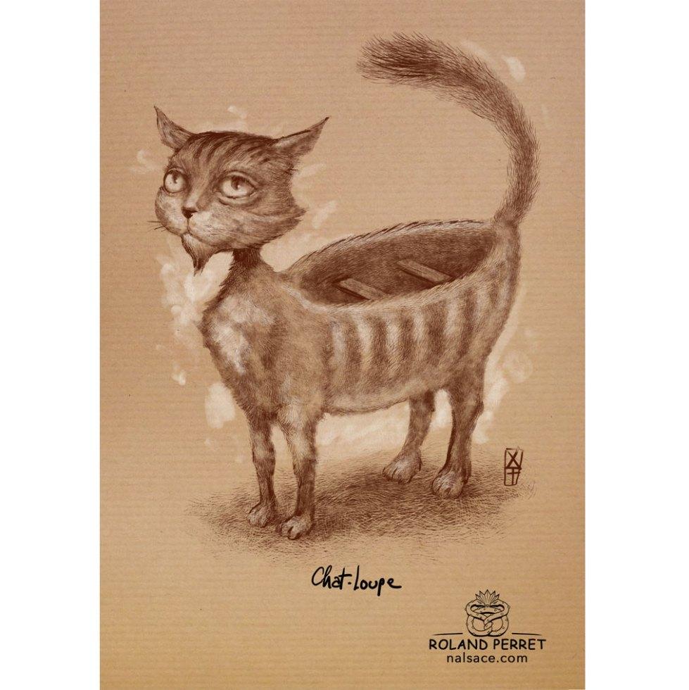 Chat - loupe - chaloupe - dessin original sur papier kraft apr Roland Perret - jeu du chat-llenge