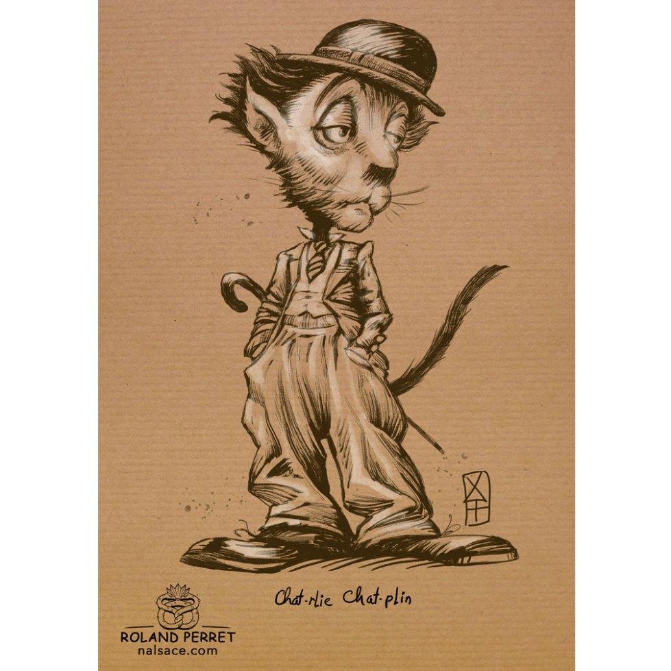 Chat - lie Chat - plin - Charlie Chaplin - dessin original sur papier kraft par Roland Perret - jeu du chat-llenge