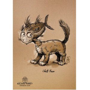 Chat- thon - chaton - dessin original sur papier kraft par Roland Perret - jeu du chat-llenge