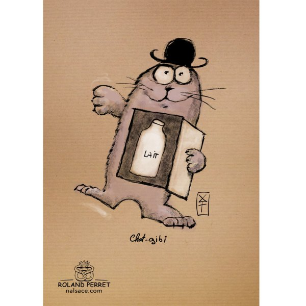 Chat - gibi - shadok - dessin original sur papier kraft par Roland Perret - jeu du chat-llenge