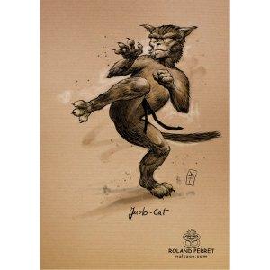 Judo-cat - chat judoka - dessin original sur papier kraft par Roland Perret - jeu du chat-llenge