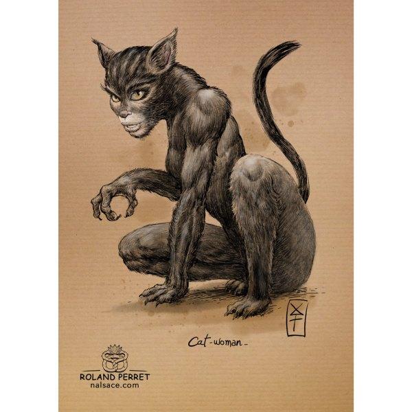 Cat-woman- Catwoman- chatte - dessin original sur papier kraft par Roland Perret - jeu du chat-llenge