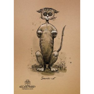 souris-cat - suricate - chat - souris - dessin original sur papier kraft par Roland Perret - jeu du chat-llenge