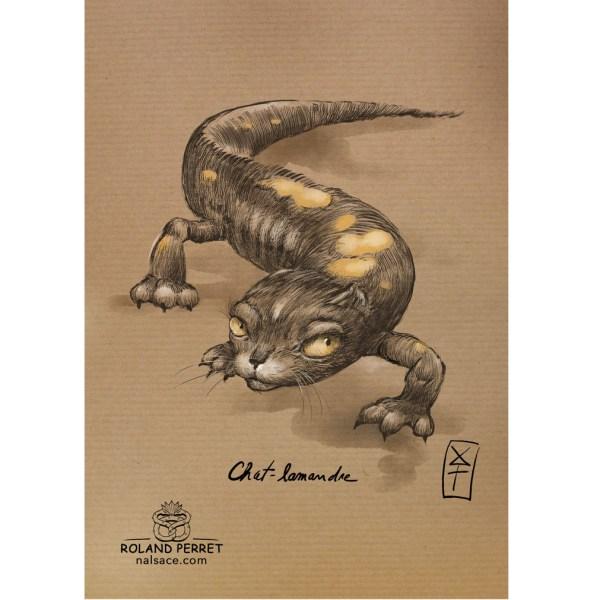 Chat-lamandre - salamandre - dessin original sur papier kraft-Roland Perret - jeu du chat-llenge