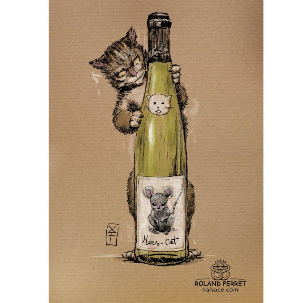 mues - cat - muscat bouteille chat - dessin original sur papier kraft par Roland Perret - jeu du chat-llenge