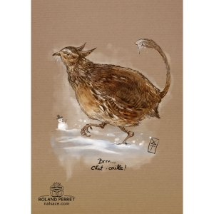 Chat-caille - dessin original sur papier kraft par Roland Perret - jeu du chat-llenge