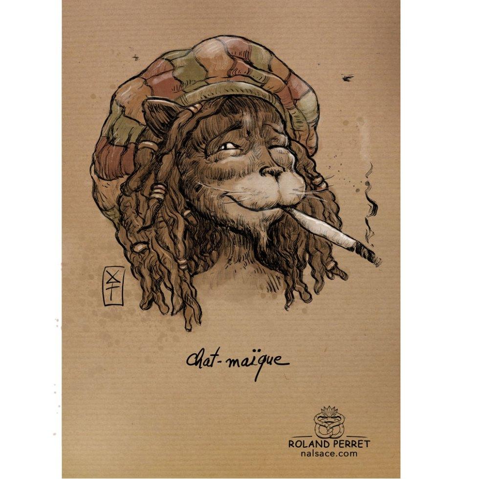 Chat-maïque- Jamaïque- pétard- dessin original sur papier kraft-Roland Perret - jeu du chat-llenge